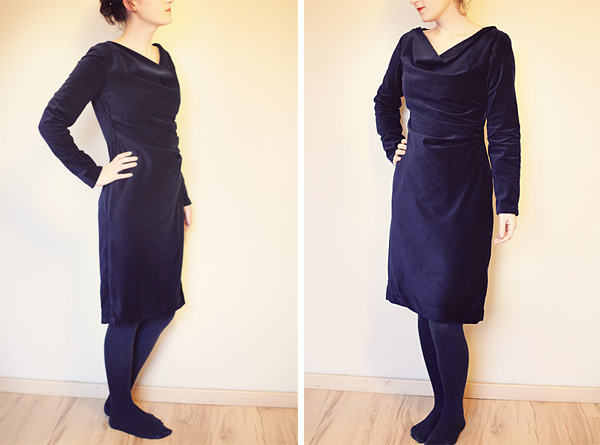 velvet cowl dress. tidytipsy